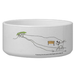 """""""A journey of a thousand miles..."""" dog bowl"""