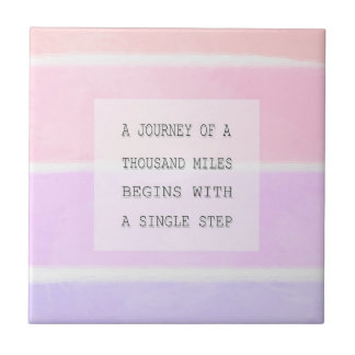 A Journey Of A Thousand Miles, Inspirational Quote Tile