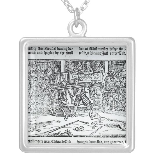 A Jousting Tournament Silver Plated Necklace