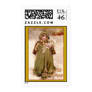 A Joyful Christmas Vintage Christmas Print Postage Stamp