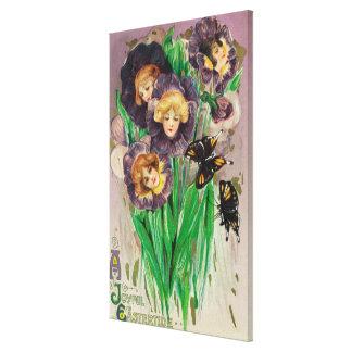 A Joyful Easter Violets with Women Heads Scene Canvas Print