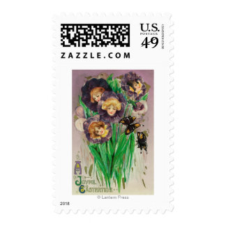 A Joyful Easter Violets with Women Heads Scene Postage Stamp