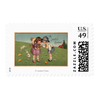 A Joyful EasterKids Holding a Bunny Postage Stamp