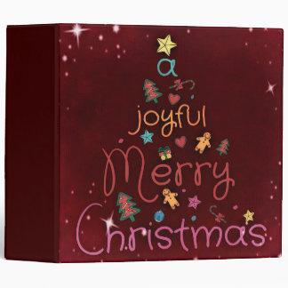 A Joyful Merry Christmas Greeting on Red Binder