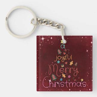 A Joyful Merry Christmas Greeting on Red Keychain