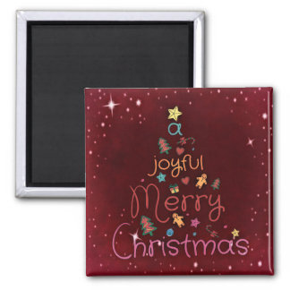 A Joyful Merry Christmas Greeting on Red Magnet