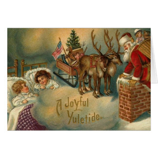 A Joyful Yuletide Santa Going Down Chimney Greeting Card