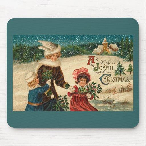A Joyfull Christmas - Vintage Art Mouse Pad