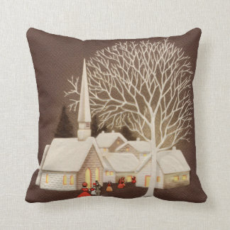 A Joyous Christmas at the Little White Church Throw Pillow