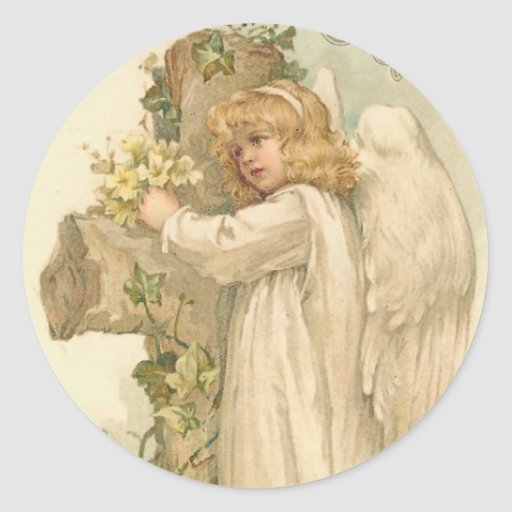 A Joyous Easter Angel Round Stickers