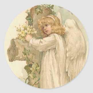 A Joyous Easter Angel Vintage Easter Classic Round Sticker