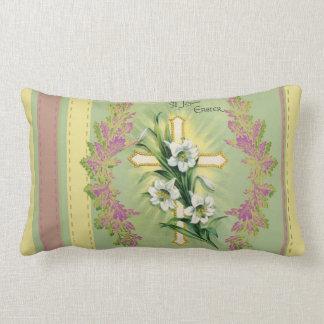 A Joyous Easter Cross Decorative Vintage Lumbar Pillow