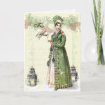 """A Joyous Noel For You Holiday Card<br><div class=""""desc"""">A beautiful vintage Regency fashion plate teamed with adorable vintage images of robins takes centre stage in this festive shabby chic romantic Jane Austen inspired collage. © Wickedly Lovely</div>"""