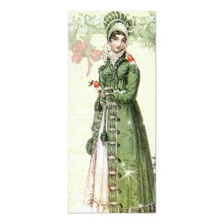 "A Joyous Noel Jane Austen Inspired Menu 4"" X 9.25"" Invitation Card"