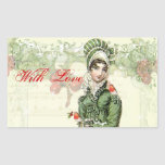 """A Joyous Noel with Love Rectangular Sticker<br><div class=""""desc"""">A beautiful vintage Regency fashion plate teamed with adorable vintage images of robins takes centre stage in this festive shabby chic romantic Jane Austen inspired collage.  © Wickedly Lovely</div>"""