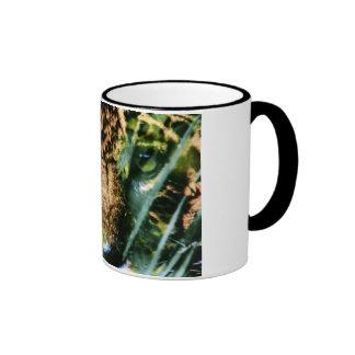 A juaguar on a  coffee mug