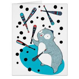 A juggling bear - Birthday card
