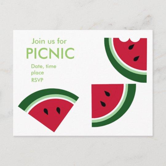 a juicy summer picnic invitation postcard zazzle com