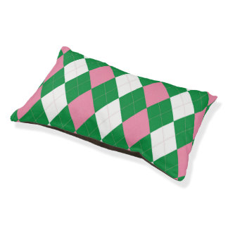 A.K.A Pink & Green Argyle Doggie Sleeper Small Dog Bed