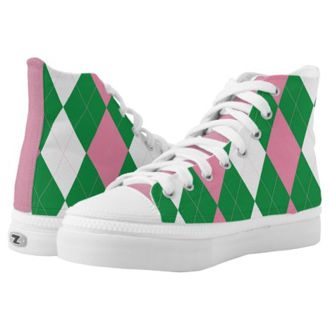 A.K.A Pink & Green Argyle High-Top Sneakers