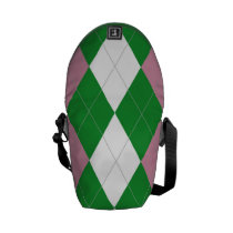 A.K.A Pink & Green Argyle Messenger Bag