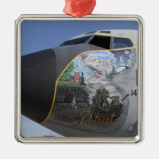 A KC-135 Stratotankerdisplaying patriotic nose Square Metal Christmas Ornament