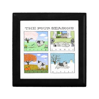 A Keeshond Enjoys the Four Seasons - Fun Dog Art Jewelry Box