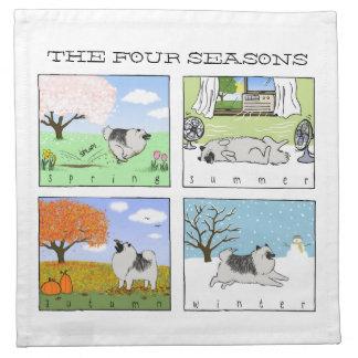 A Keeshond Enjoys the Four Seasons - Fun Dog Art Napkin