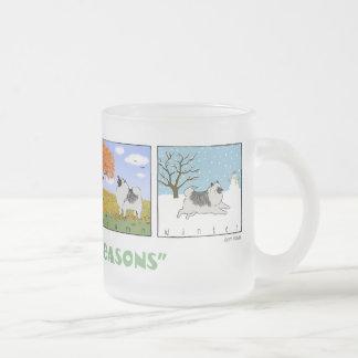 A Keeshond's Four Seasons Frosted Glass Coffee Mug