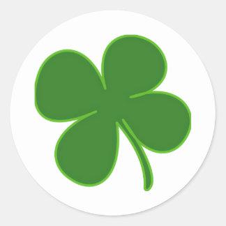 A Kelly Green Shamrock Round Sticker
