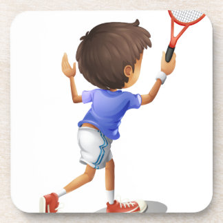 A kid playing tennis drink coaster