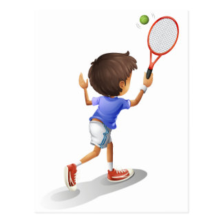 A kid playing tennis postcard