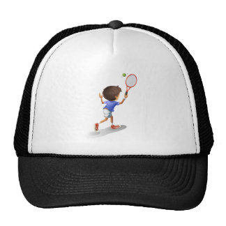 A kid playing tennis trucker hat