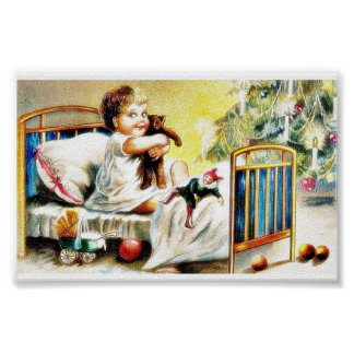 A kid sitting on the cot and holding toys poster