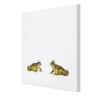 a king and queen frog looking at each other canvas print