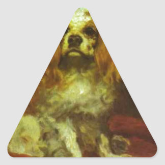 A King Charles Spanie by Edouard Manet Triangle Sticker