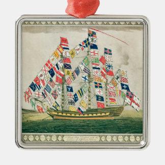 A King's Ship Square Metal Christmas Ornament