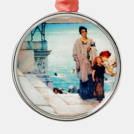 A Kiss by Sir Lawrence Alma Tadema Round Metal Christmas Ornament