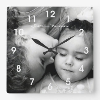 A Kiss For O/Sisters Forever Square Clock w/numbrs