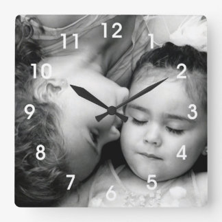 A Kiss For O Square Clock w/numbers