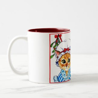 A kiss under the mistletoe mug
