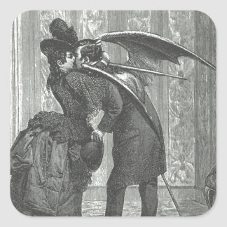 A Kiss Victorian/Gothic Winged Vampire Square Sticker