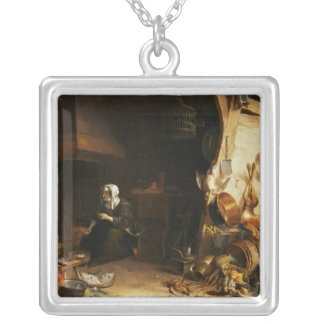 A Kitchen Interior with a Servant Girl Silver Plated Necklace