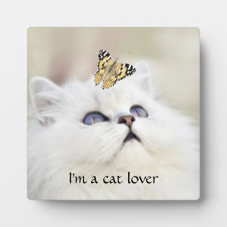 A kitten and a butterfly plaque