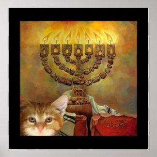 A kitten and a Menorah Poster