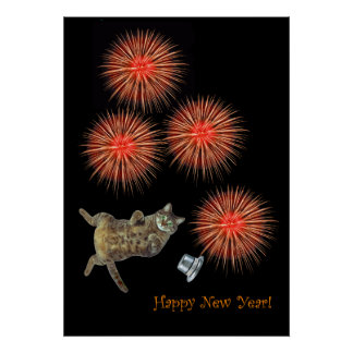 A kitty and firecrackers poster