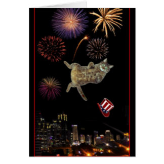 A kitty celebrates Fourth of July Card