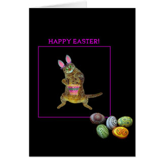 A kitty with bunny ears greeting card