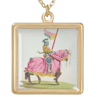 A Knight Armed for the Bond, 1512, engraved by W. Gold Plated Necklace