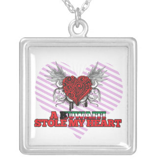 A Kuwaiti Stole my Heart Silver Plated Necklace